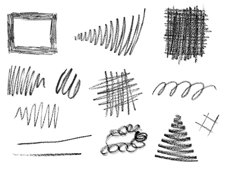 collection of  various pencil strokes on white background. each one is shot separately photo