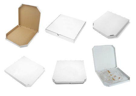 collection of a pizza  boxes  on white background. each one is shot separately photo