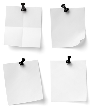 collection of various note papers with push pins on white background. each one is shot separately Stock Photo