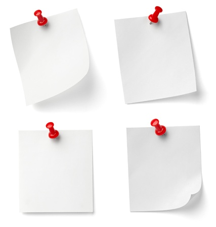 paper note: collection of various note papers with push pins on white background. each one is shot separately Stock Photo