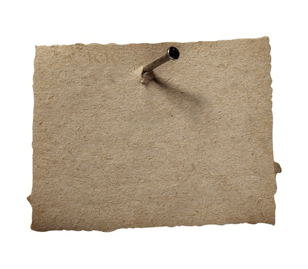 board pin: close up of grunge note paper on white background