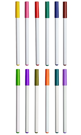 soft tip pen: collection of various felt tip pens on white background. each one is shot separately