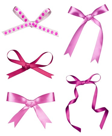 pink satin: collection of various a silk ribbon knot on white background. each one is shot separately Stock Photo