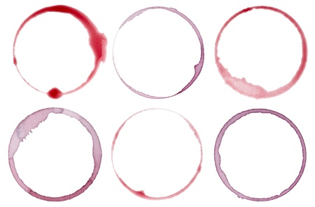 red wine stain: collection of  various wine stains on  white background. each one is shot separately