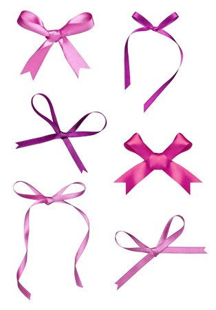 pink ribbon: collection of various a silk ribbon knot on white background. each one is shot separately Stock Photo