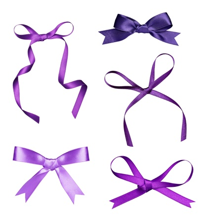 purple ribbon: collection of various a silk ribbon knot on white background. each one is shot separately Stock Photo