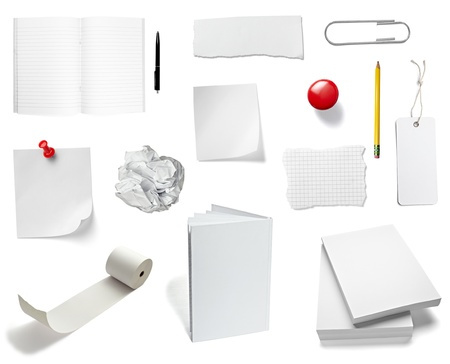 collection of various office papers and objects on white background. each one is shot separately Stock Photo - 11554430