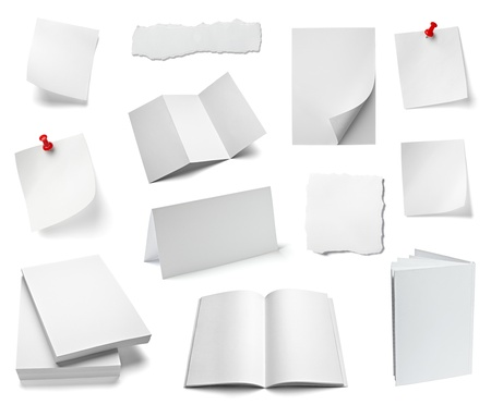 paper curl: collection of various office papers and objects on white background. each one is shot separately
