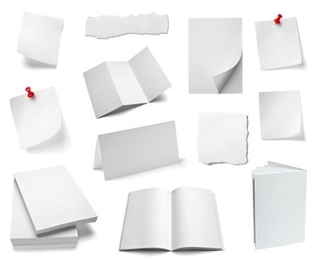 wrinkled paper: verzameling van verschillende kantoorpapier en objecten op een witte achtergrond. elk wordt afzonderlijk neergeschoten