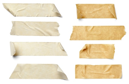 collection of  various adhesive tape pieces on  white background. each one is shot separately