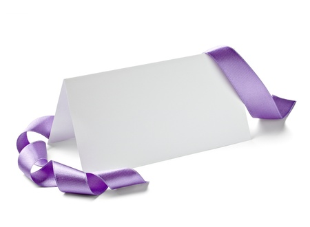 blank tag: close up of  card note with  ribbon