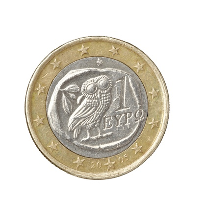 close up of damaged euro coin  photo