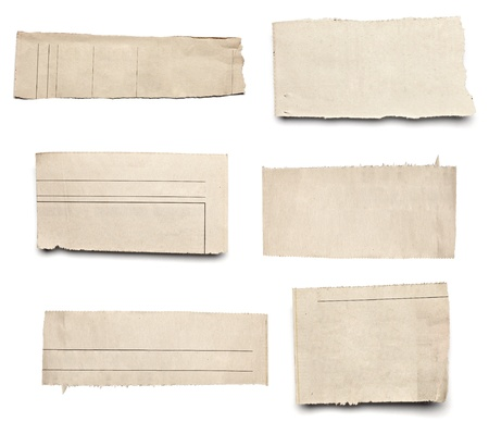 collection of  white ripped pieces of news paper on on white background. each one is shot separately Stock Photo - 11554792