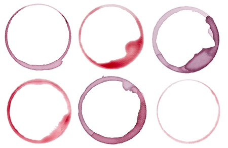 collection of  vaus wine stains on  white background. each one is shot separately Stock Photo - 11554925