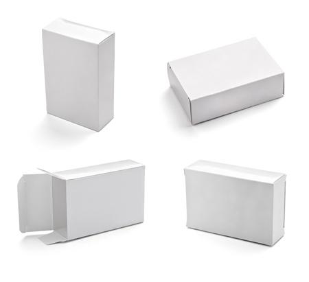 boite carton: collection de bo�te blanche sur fond blanc. chacun d'eux est abattu s�par�ment