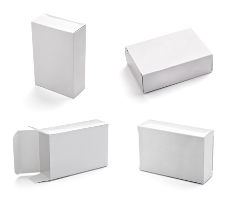 cardboard boxes: collection of  white box on white background. each one is shot separately