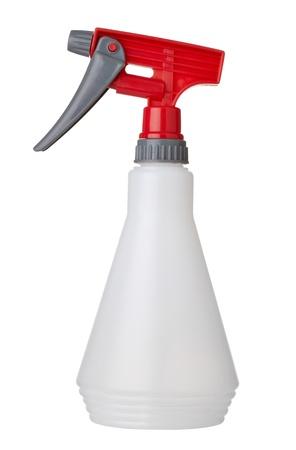 pulverizador: cerca de una botella de plástico blanco