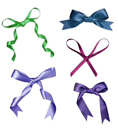 collection of various a silk ribbon knot on white background. each one is shot separately photo