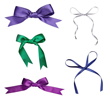 silk ribbon: collection of various a silk ribbon knot on white background. each one is shot separately Stock Photo