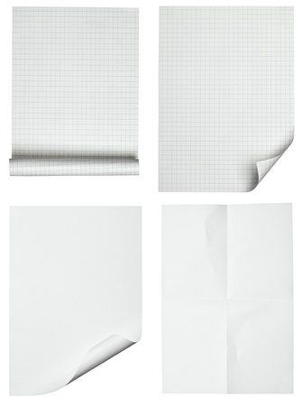 collection of various papers on white background. each one is shot separately photo