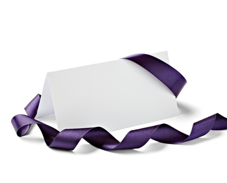 purple rose: close up of  card note with  ribbon