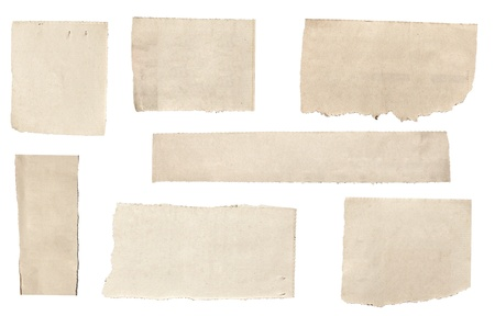 paper background: collection of  white ripped pieces of news paper on on white background. each one is shot separately Stock Photo