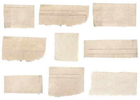 Old newspaper: collection of  white ripped pieces of news paper on on white background. each one is shot separately Stock Photo