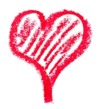 red pencil: close up of lipstick heart shape on white background