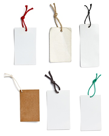 collection of  various price labels on white background. each one is shot separately photo