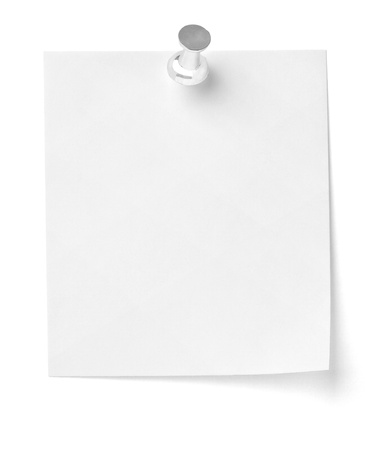 pinned: close up of a note paper with push pin on white background with clipping path Stock Photo