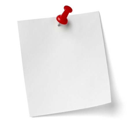 close up of a note paper with push pin on white background with clipping path Stock Photo - 12271193