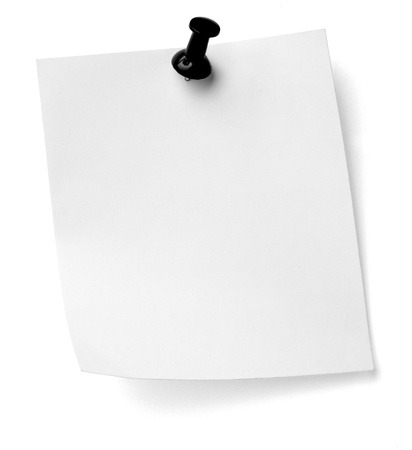 close up of a note paper with push pin on white background with clipping path Stock Photo - 12271136