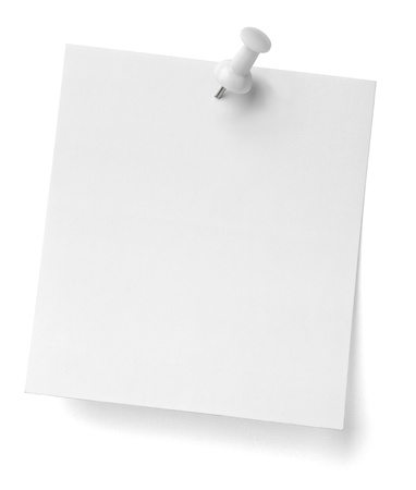 paper fastener: close up of a note paper with push pin on white background with clipping path Stock Photo