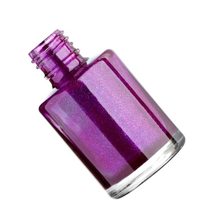 close up of nail polish drop on white background with clipping path photo