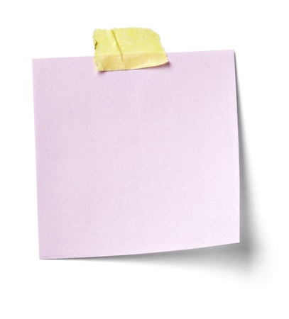 close up of  a white note paper on white background  with clipping path photo