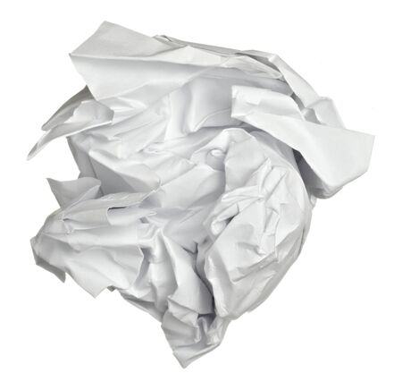throw paper: close up of a paper ball on white background with clipping path