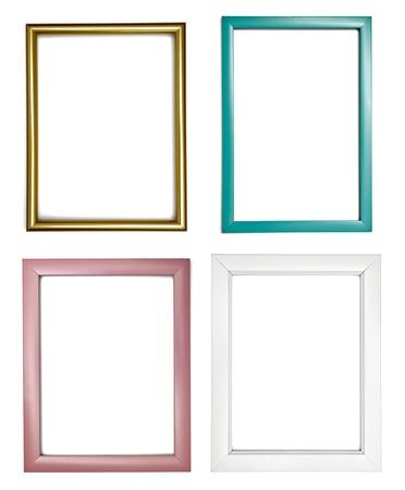 Baroque picture frame: collection de divers cadres en bois pour la peinture ou une photo sur fond blanc. chacun d'eux est abattu s�par�ment Banque d'images