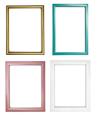 antique gold picture frames: collection of various wooden frames for painting or picture on white background. each one is shot separately Stock Photo
