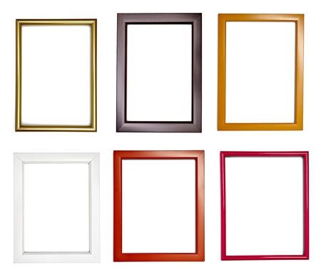 picture frame on wall: collection of various wooden frames for painting or picture on white background. each one is shot separately Stock Photo