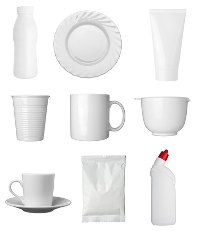 disposable: collection of  various white dishes, bottles and containers on white background. each one is shot separately