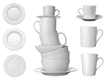 collection white coffee cups, plates and dishes on white background. each one is shot separately Stock Photo - 12271129