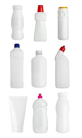 collection of  various white dishes, bottles and containers on white background. each one is shot separately photo