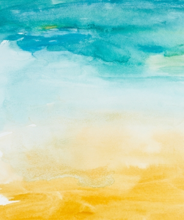 watercolor paper: close up of  water color strokes painting on white background
