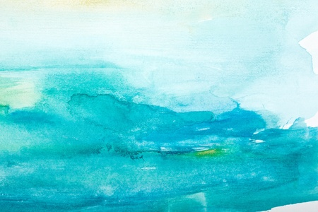 watercolor blue: close up of  water color strokes painting on white background
