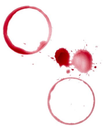 close up of  a wine stain on  white background with clipping path