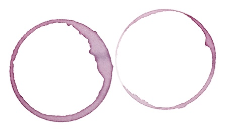 close up of  a wine stain on  white background with clipping path photo