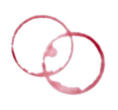 close up of  a wine stain on  white background with clipping path Stock Photo - 12271213