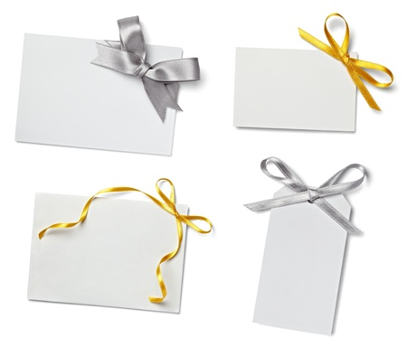 gold string: collection of  various card notes with ribbon on white background.each one is shot separately