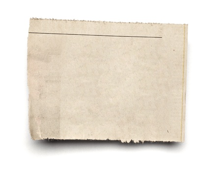 Old newspaper: close up of  a white ripped piece of news paper on on white background with clipping path