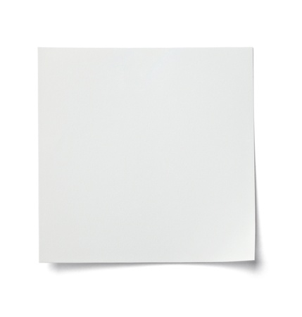 note book: close up of  a white note paper on white background  with clipping path